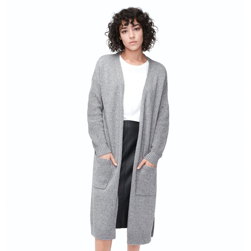 UGG Women s Fremont Fluffy Knit Cardigan - Grey  2a7c3816f