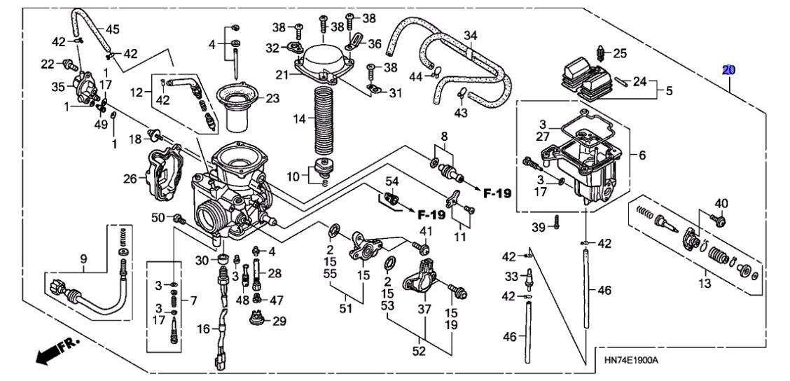 Honda Oem Carburetor Assembly 2007 Trx400fa Trx400fga 16100 Hn7 A21
