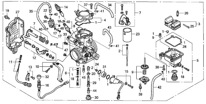 2004 honda 450 carburetor schematic
