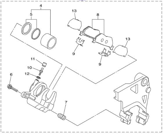 Yamaha Oem Rear Brake Caliper 14 17 Bolt R Spec Sr950 1tp 2580w 00
