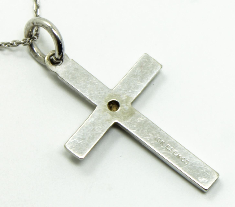 Vintage Solid White Gold Diamond Cross Pendant on 14K ...