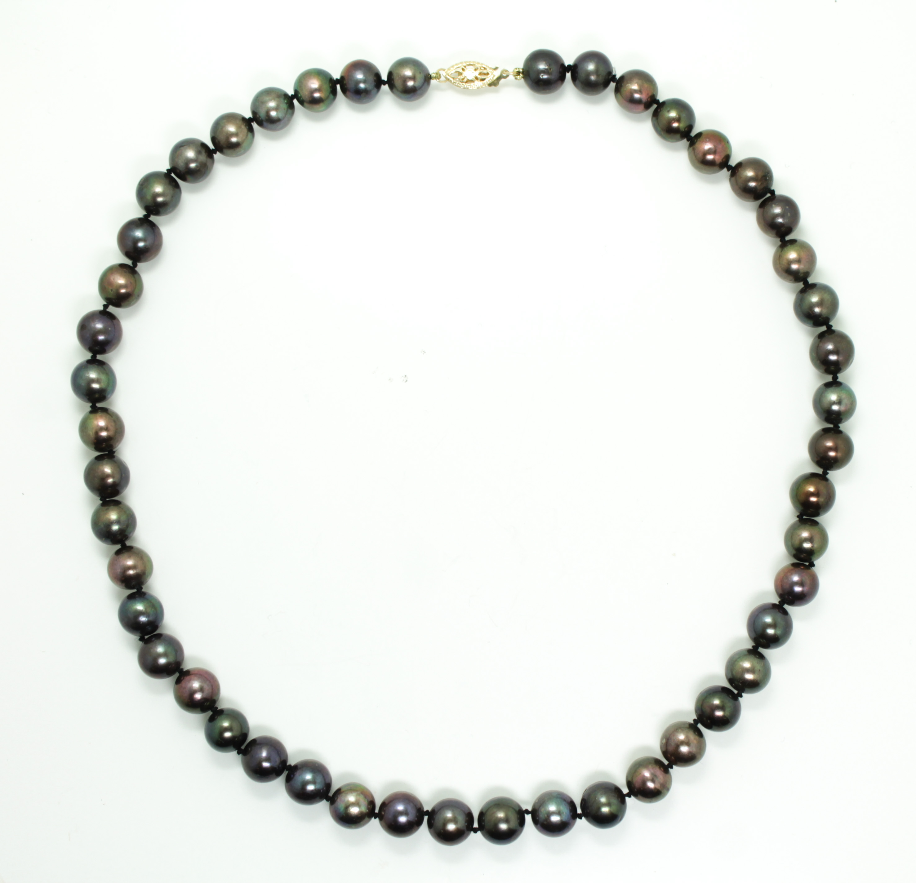Single Strand Pearl Necklace: Vintage 1970s/80s South Sea Black Cultured Pearl Single