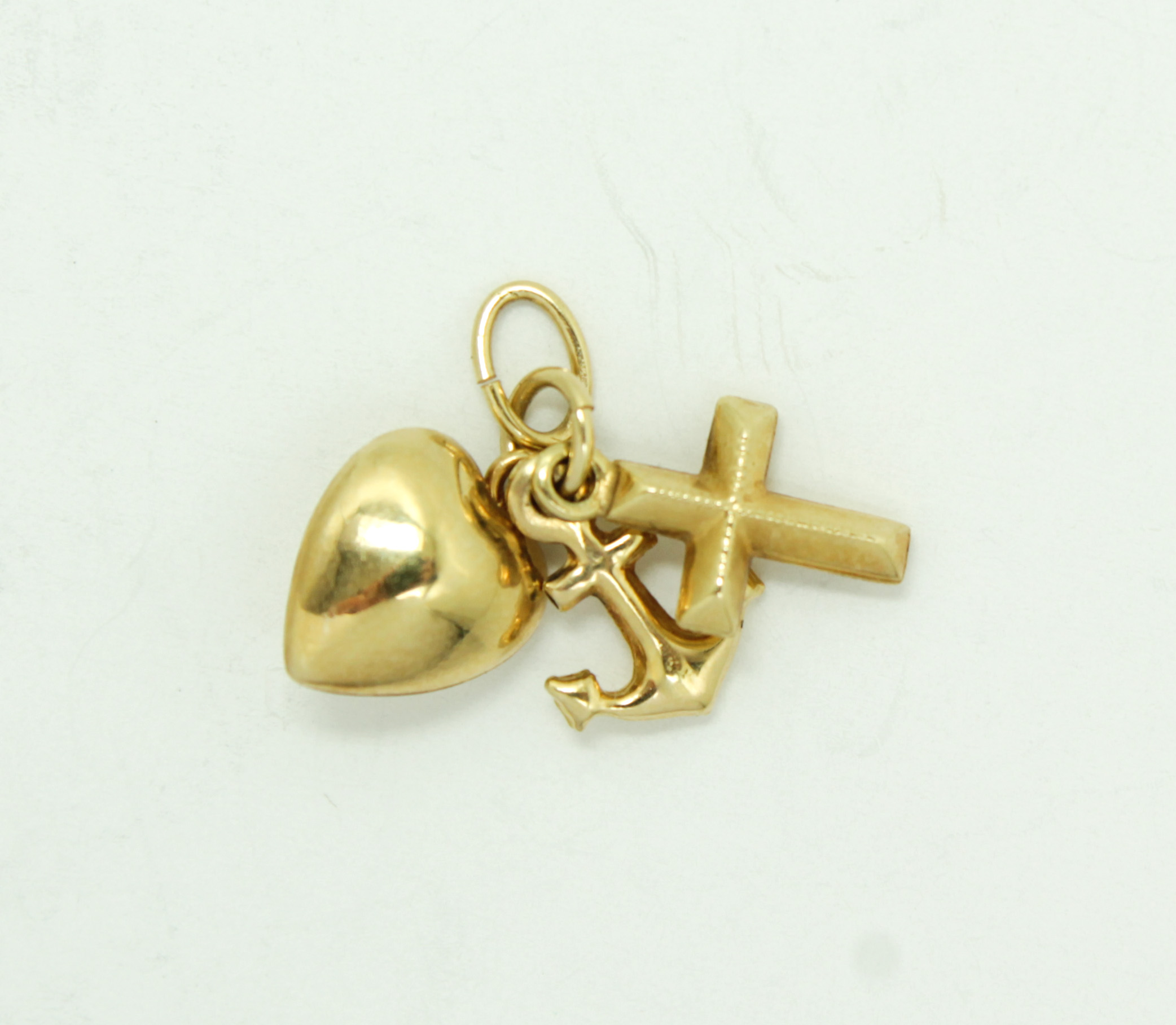Cross Charm Bracelet: Anchor Heart Cross Faith Hope Love Sailor 14k Gold Charm