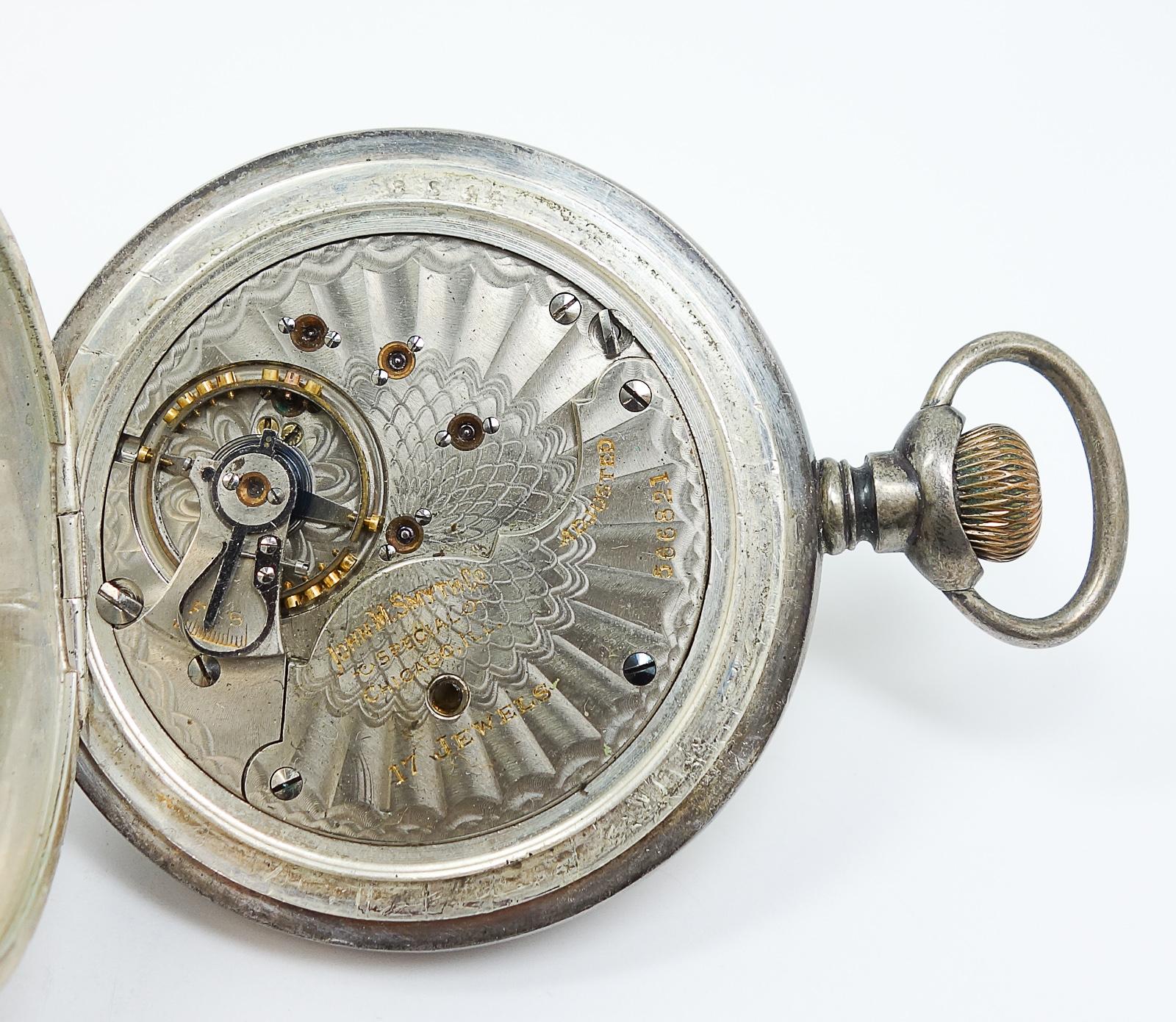 Antique C1900 John M Smyth Co Sterling Silver Hunter Case
