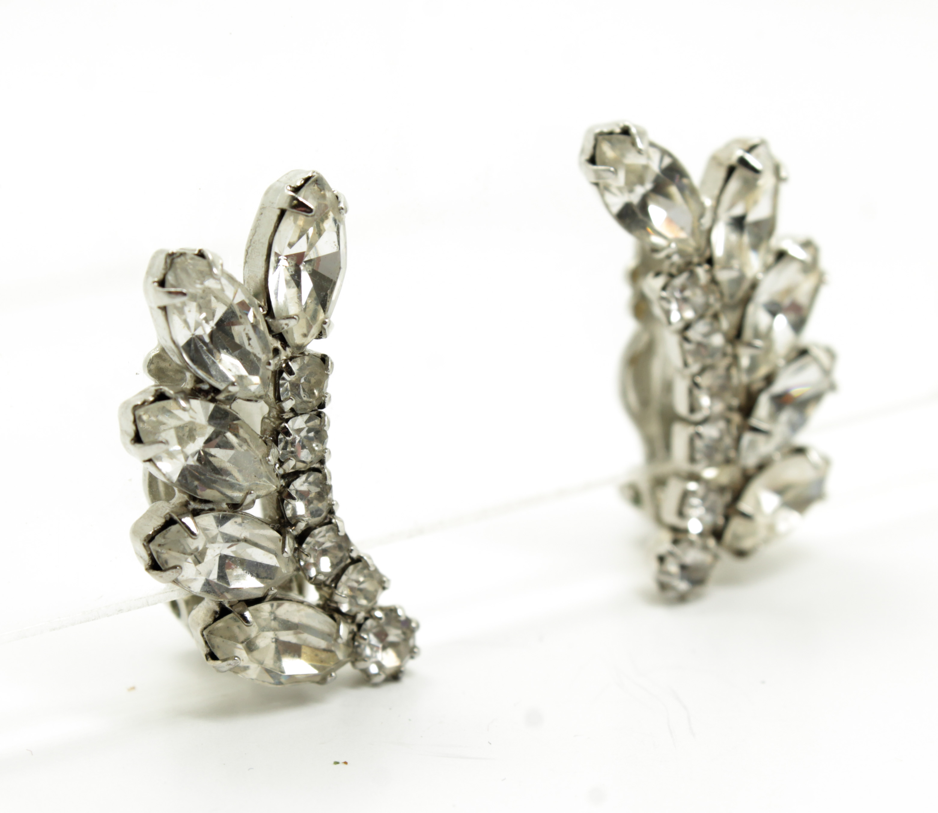 Vintage 1940s 50s Weiss Rhinestone Necklace Earrings Suite