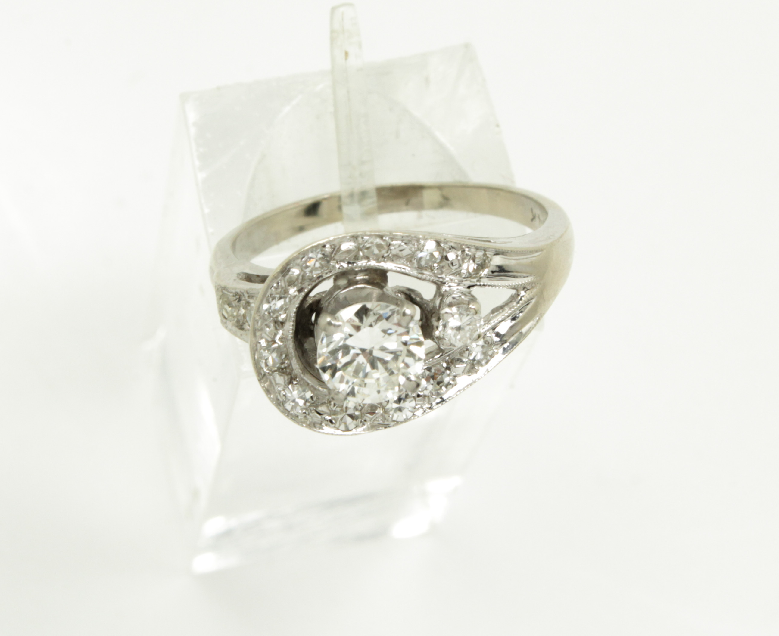 vintage 14k white gold 0 72tcw ring certified