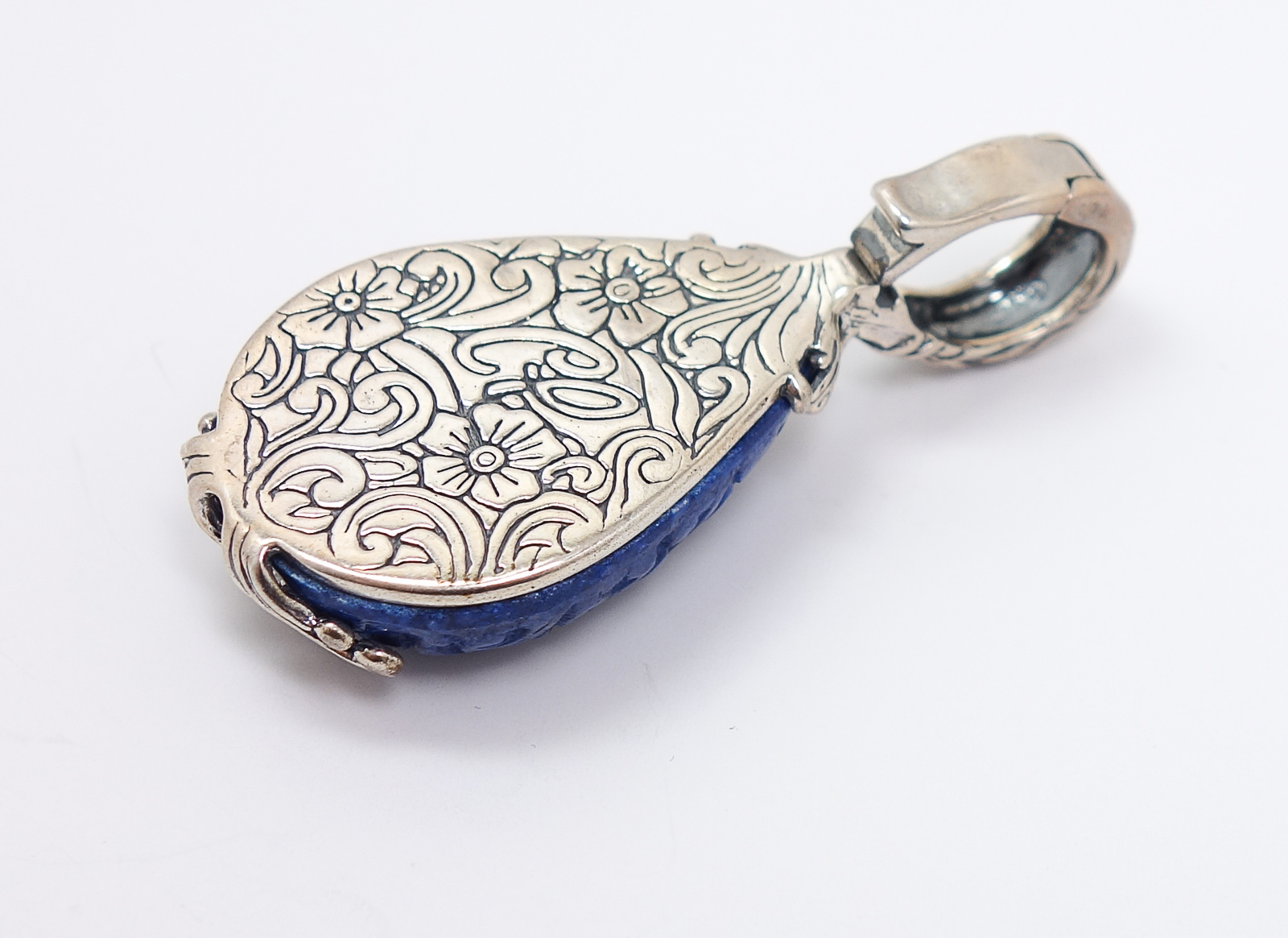carolyn pollack relios sterling silver carved blue stone