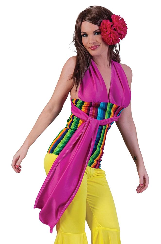 Retro Hippie Halloween Fancy Dress Costume Mexican Mercado Halter Top