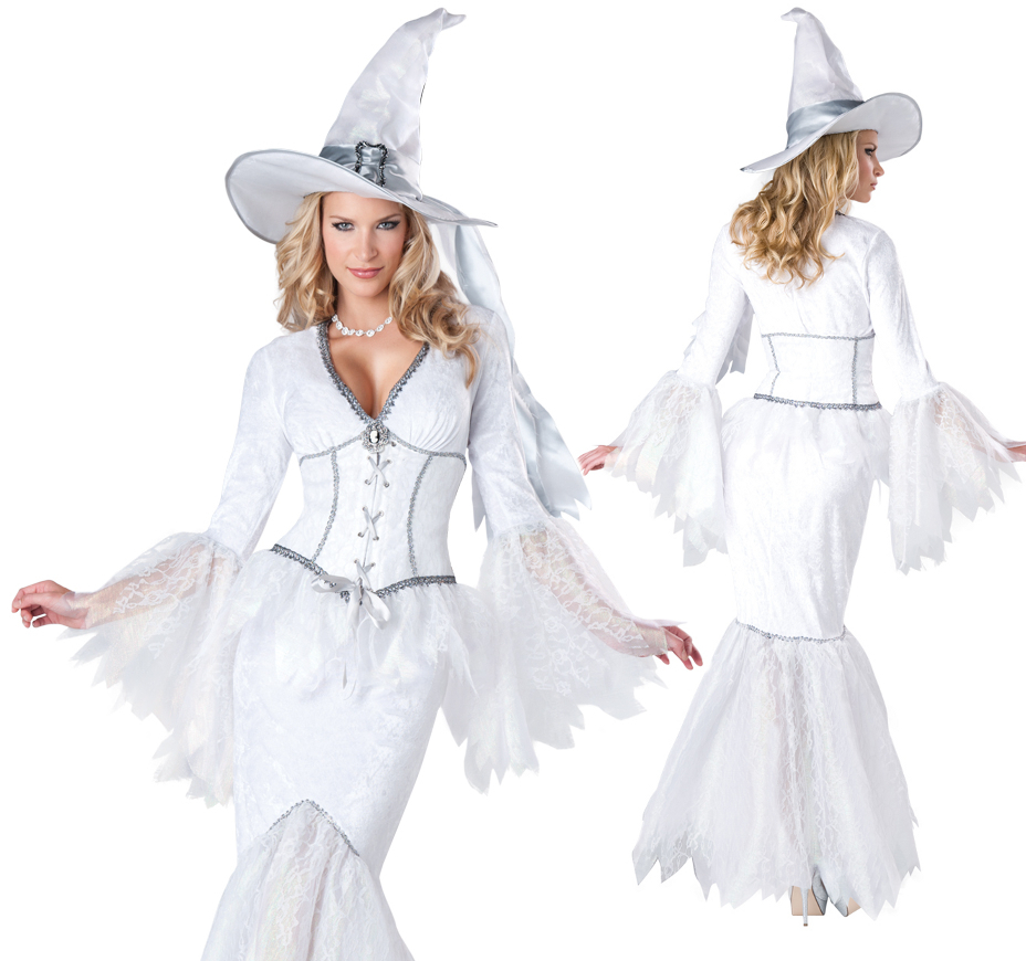 Sexy White Witch Corset Dress Halloween Costume