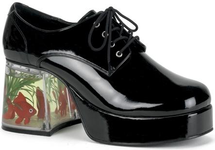 3cacca1395d Mens Platform Disco Pimp Black Costume Shoes Fish Heel on PopScreen