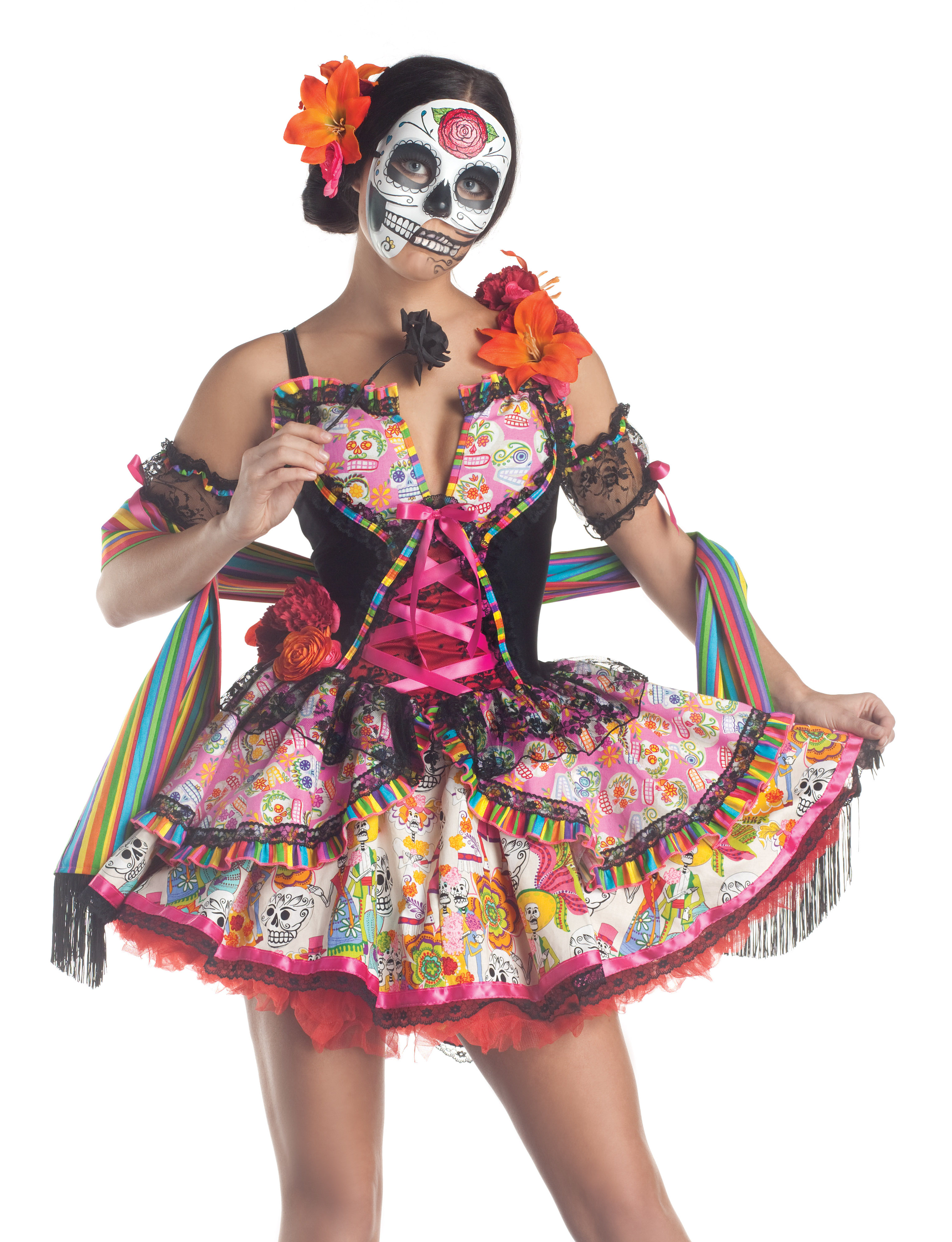 Sexy Day Of The Dead Skeleton Adult Halloween Costume   eBay