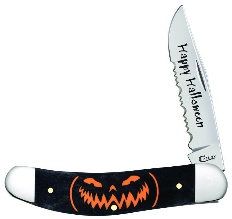 Case XX Happy Halloween Black Bone Jack O�Lantern Sowbelly Stainless Pocket Knife Knives