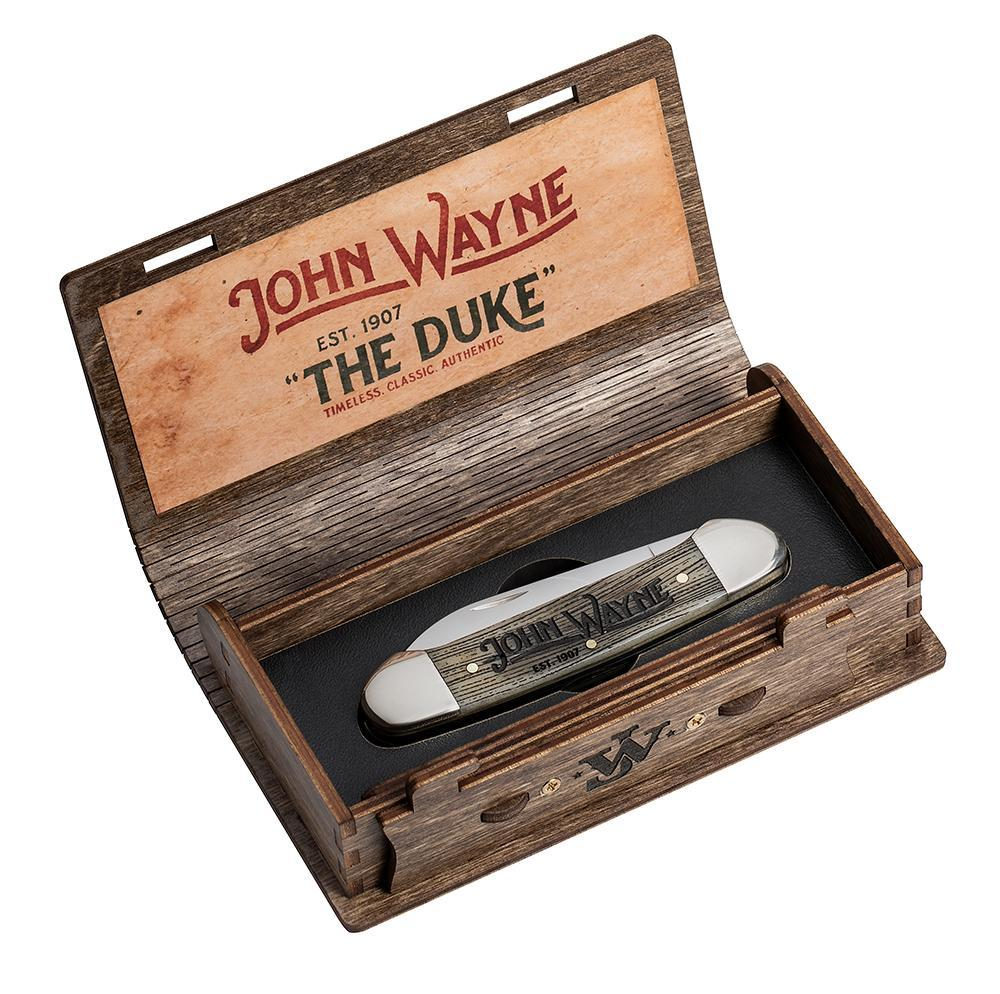 Case XX John Wayne Amber Color Wash Natural Bone Wood Grain Etched Canoe Stainless Pocket Knife