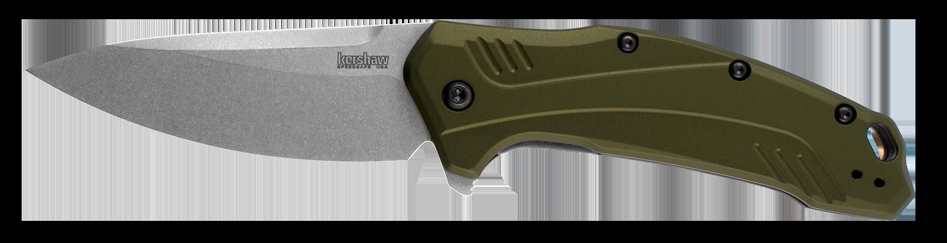 Kershaw Olive Green Anodized Aluminum Link Liner Lock 20CV Stainless Pocket Knife