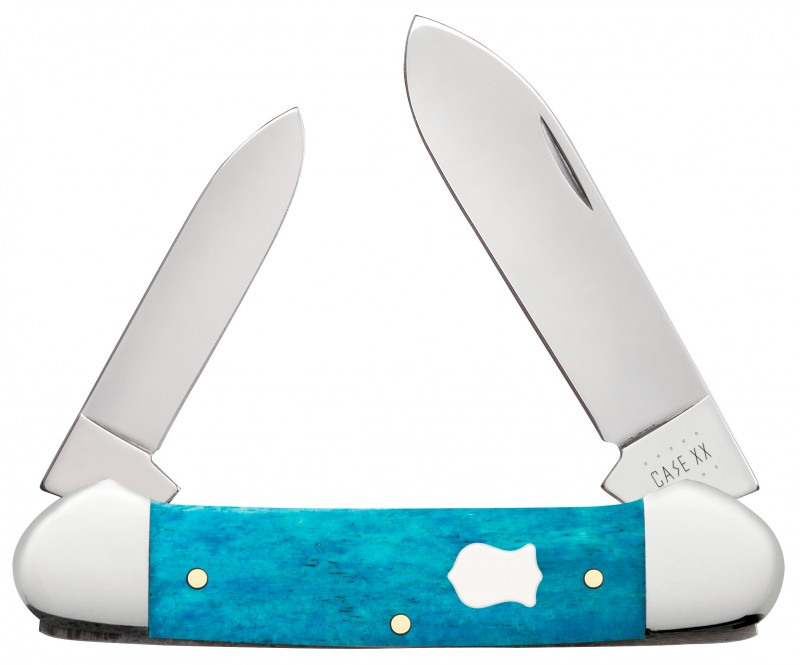 Case XX Smooth Caribbean Blue Bone Canoe Stainless Pocket Knife