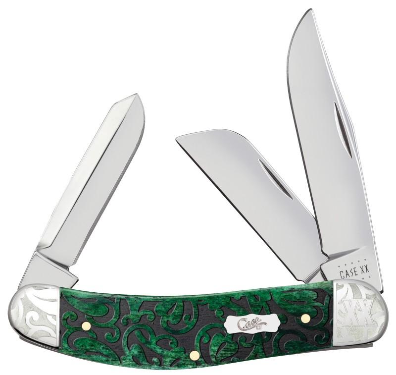 Case XX Heartleaf Bermuda Green Bone Sowbelly Stainless Scrolled Pocket Knife