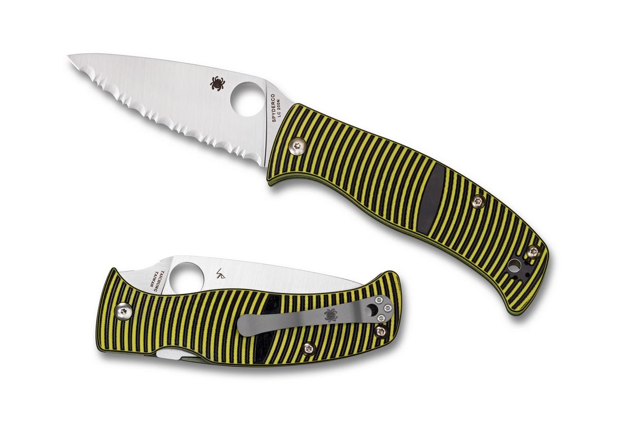 Spyderco Black & Yellow G-10 Caribbean Compression Lock Serrated Leaf LC200N Pocket Knife