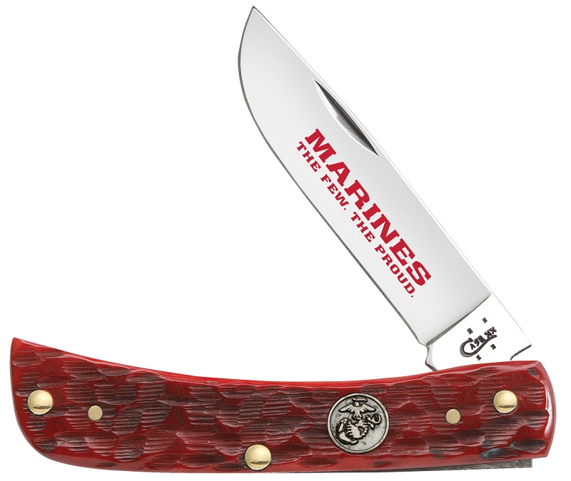 Case XX Red Jigged Bone Marines The Few The Proud Sodbuster Stainless Pocket Knife Knives