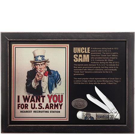Case XX Uncle Sam Embellished Natural Bone Trapper Stainless Pocket Knife Set