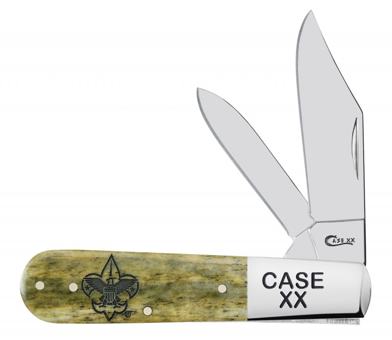 Case XX Boy Scouts Smooth Olive Green Bone Barlow Stainless Pocket Knife Knives
