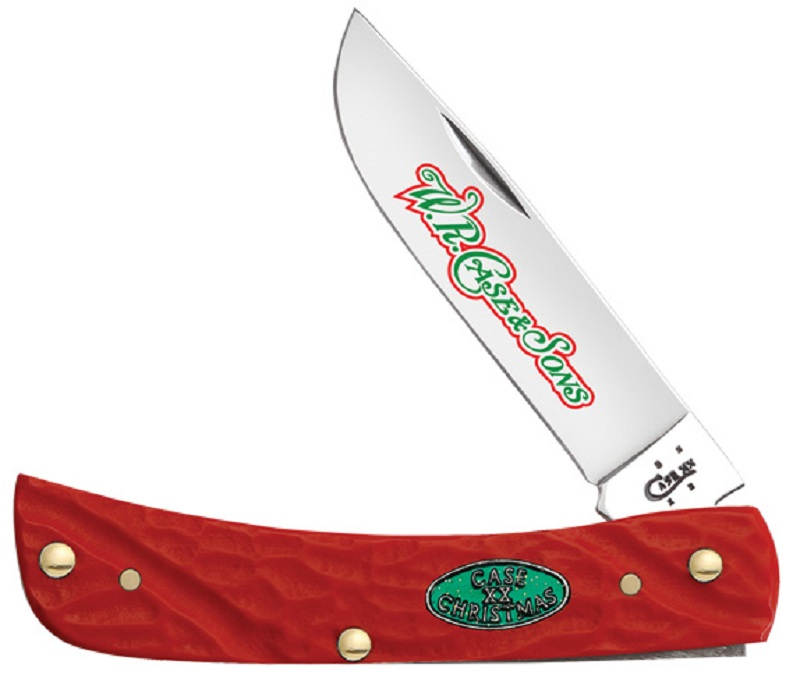 Case XX Christmas Jigged Red Delrin Synthetic Sodbuster Stainless Pocket Knife Knives