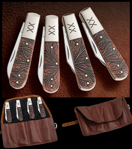 Case XX Colorwash Chestnut Bone Gentlemen's 4-Knife Barlow Set 1/250 Stainless Pocket Knife