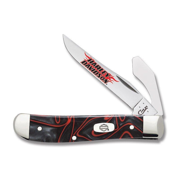 Case XX Harley-Davidson Black Lava Kirinite Mini Trapper Stainless Pocket Knife