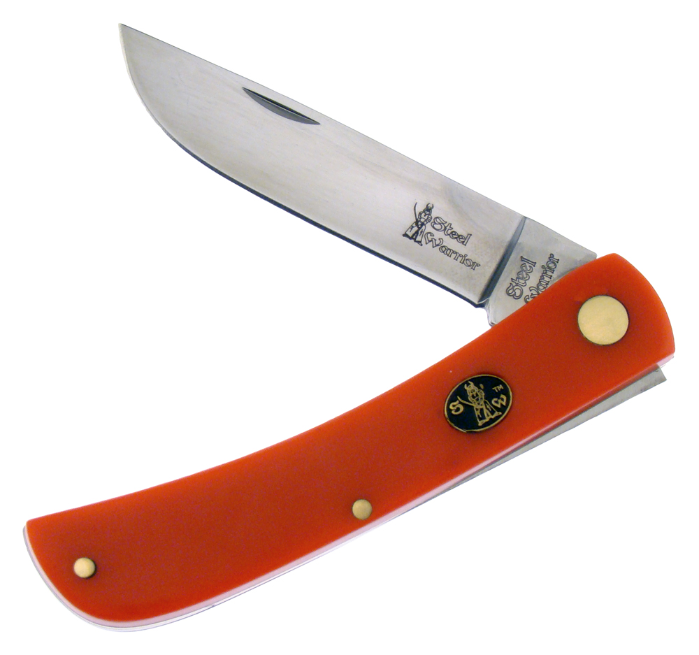 Steel Warrior Smooth Red Celluloid Sodbuster Stainless Pocket Knife Knives