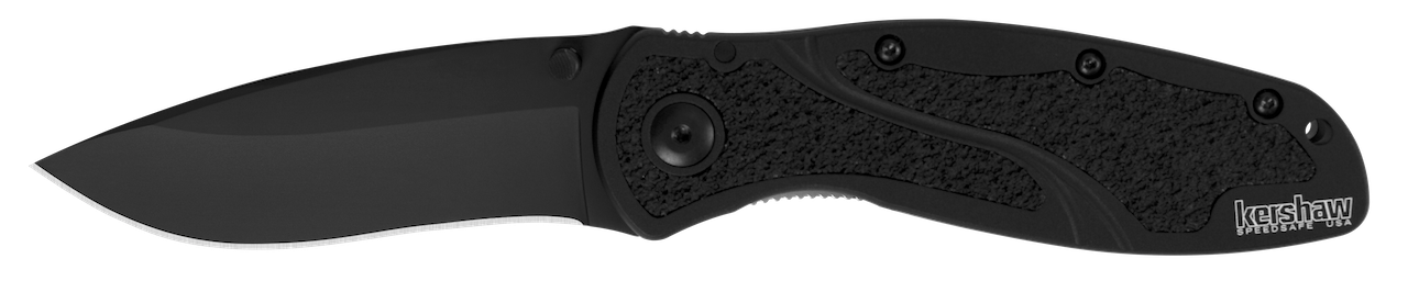 Kershaw Blur Liner Lock Knife Black Aluminum & DLC Sandvik Stainless 1670BLK Pocket Knives