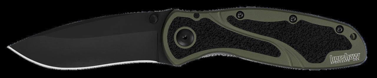 Kershaw Blur Liner Lock Knife Olive Aluminum & DLC Sandvik Stainless 1670OLBLK Pocket Knives
