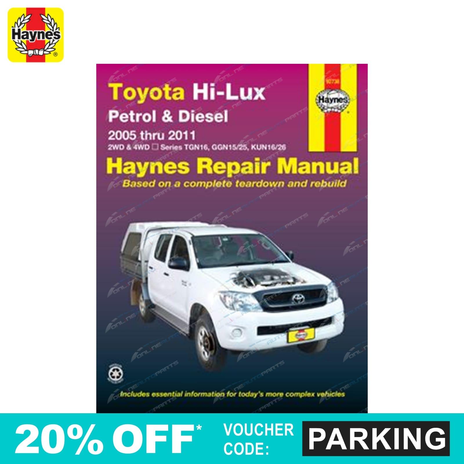 haynes car repair manual book suits toyota hilux 2x4 4wd ute rh ebay com au Repair Manuals Service ManualsOnline