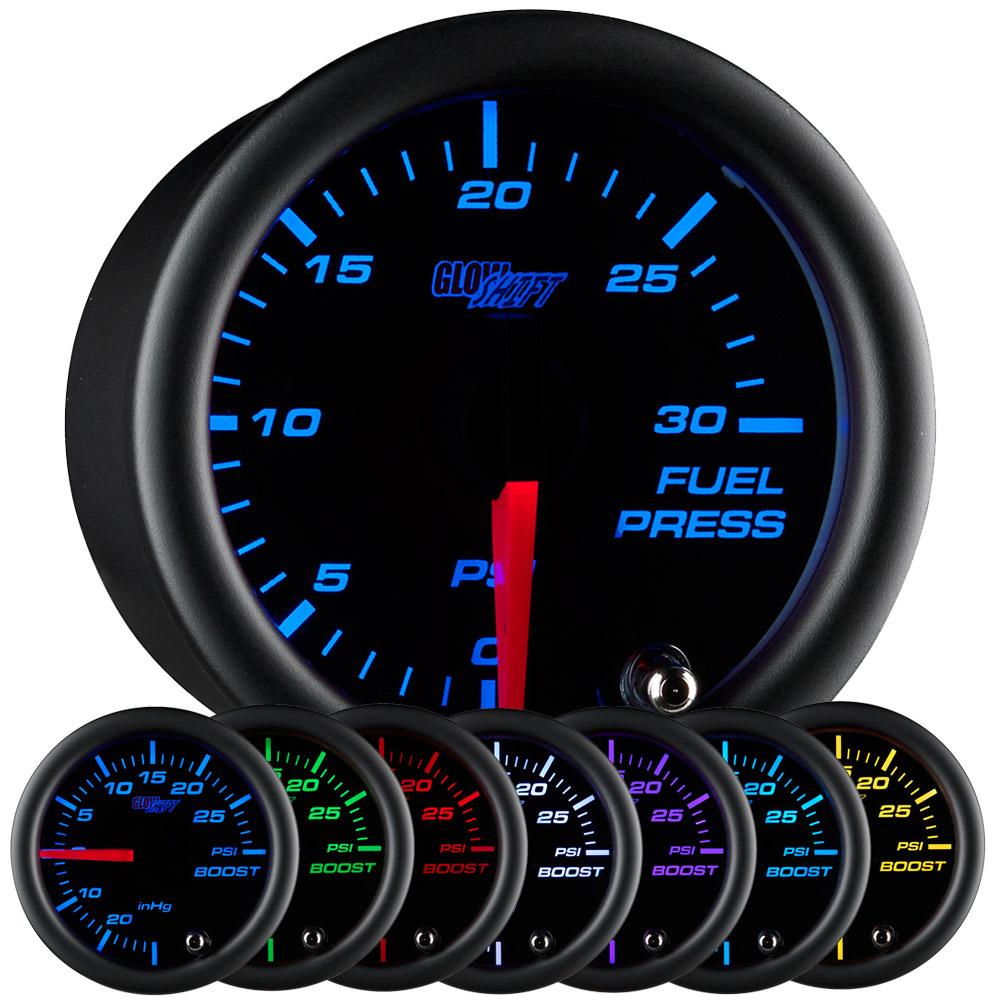 Details About 52mm Glowshift Black 7 Color Led 30 Psi Diesel Fuel Pressure Gauge W Sender Unit