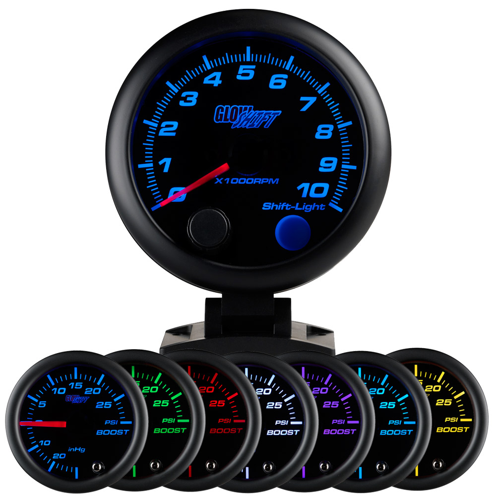 White Dial Mounts in Custom Dashboard 3-3//4 95mm Includes Shift Light for 1-10 Cylinder Gas Engines Clear Lens Peak Recall GlowShift White Elite 10 Color 10,000 RPM Tachometer Gauge