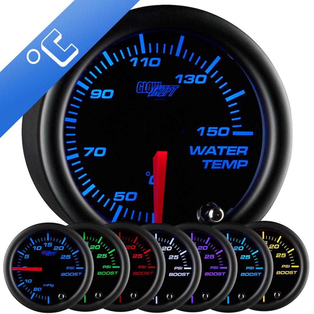 GlowShift Elite 10 Color Water Temp Gauge /& Black Pod Fits 98-02 Dodge Cummins