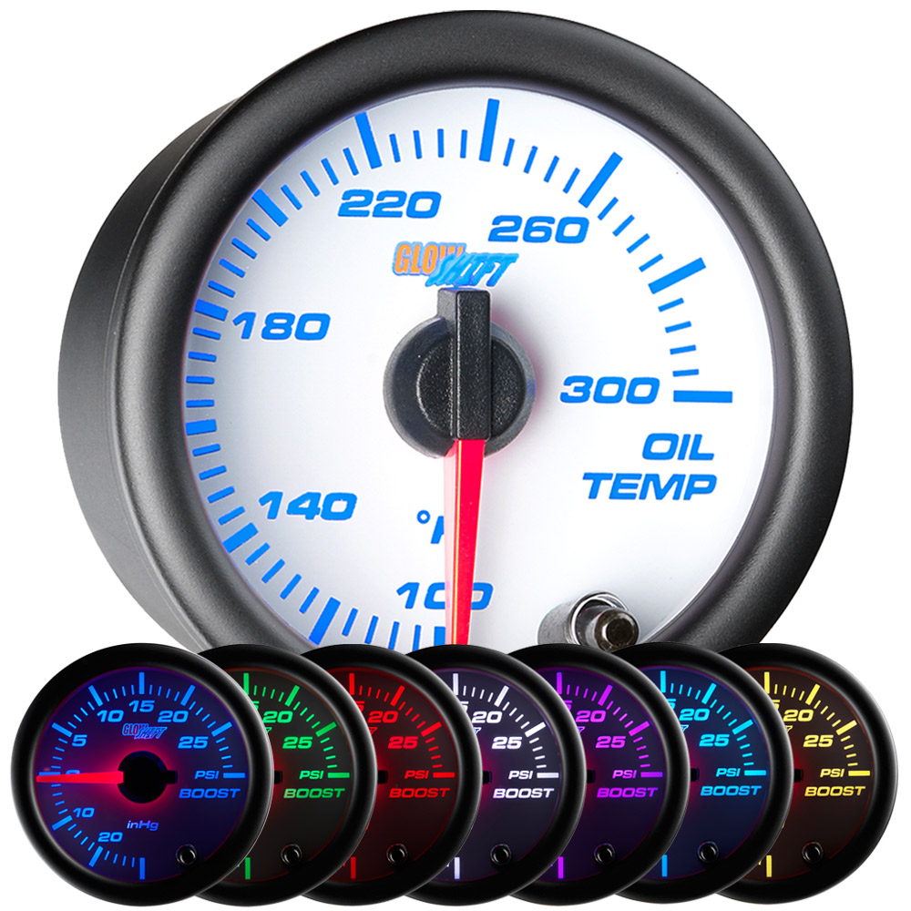 52mm GlowShift White 7 Color Electrical Engine Oil Temperature Gauge ...