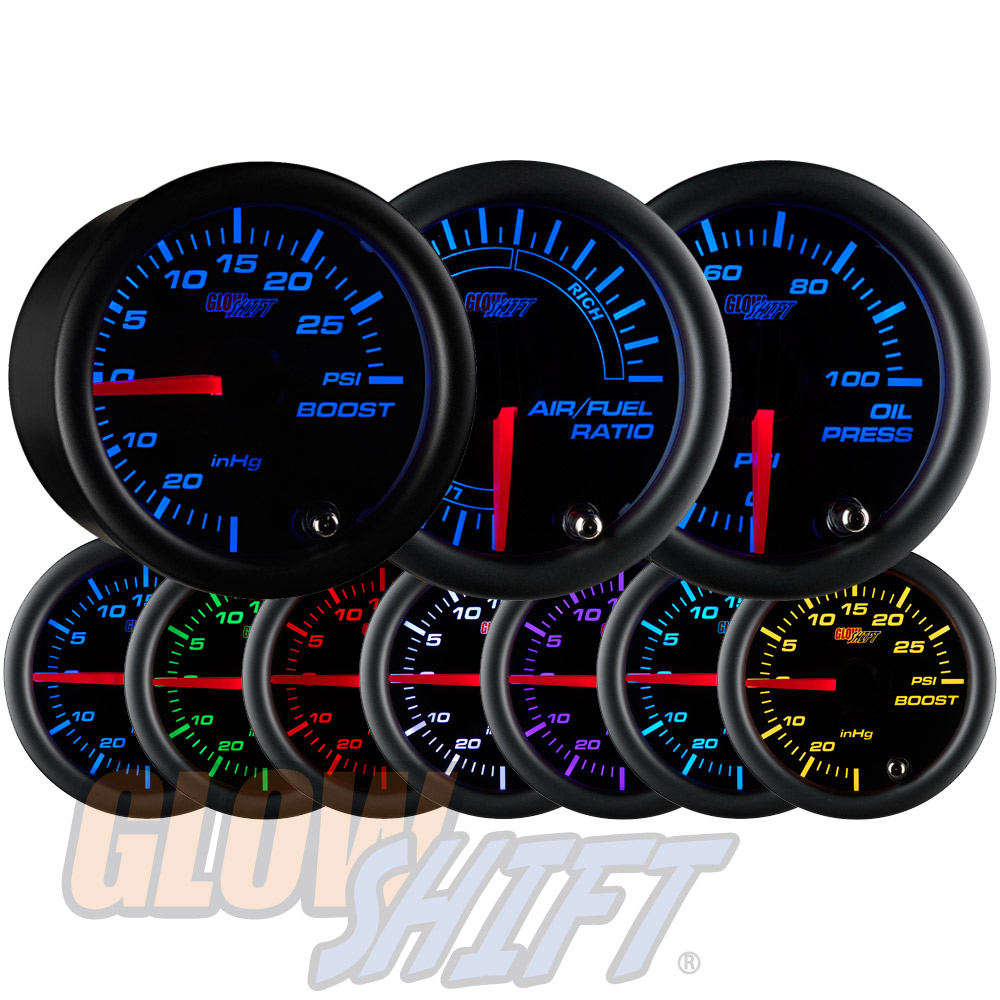 GlowShift 52mm Black 7 Color 30PSI Boost + 100PSI Oil