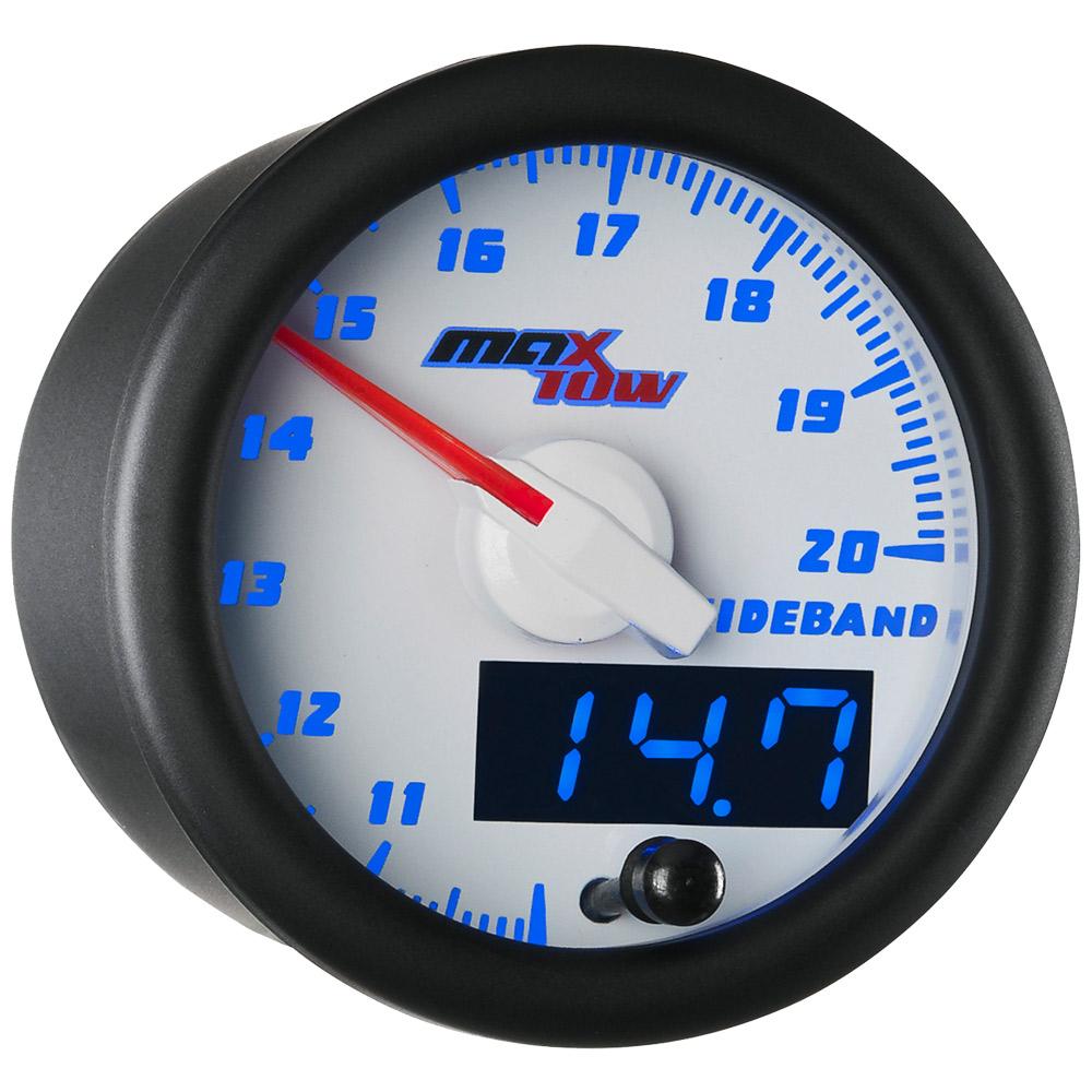 white face blue led maxtow wideband air  fuel ratio gauge kit w bosch o2 sensor 842559100332