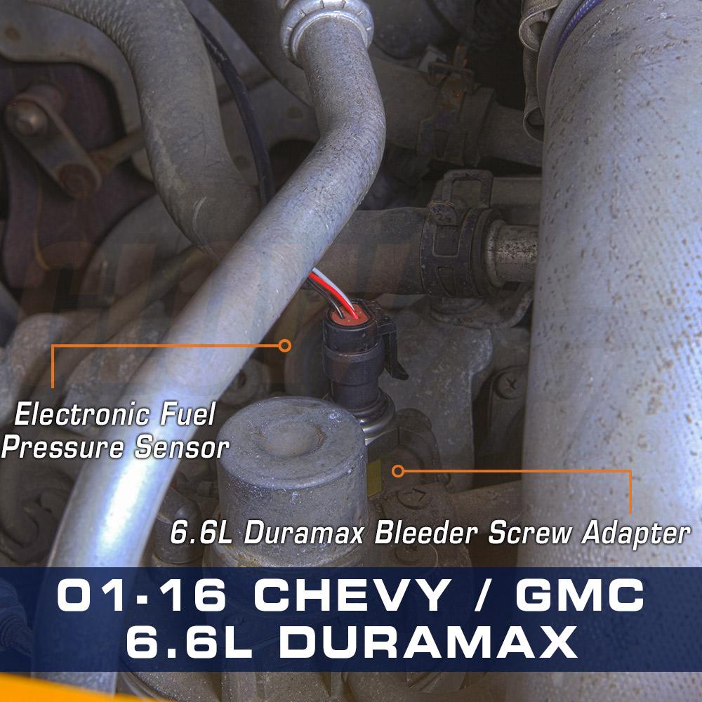 2 8 L Duramax >> 2001-2016 Chevy GM 6.6L Duramax Bleeder Screw Fuel Pressure Gauge Sensor Adapter   eBay