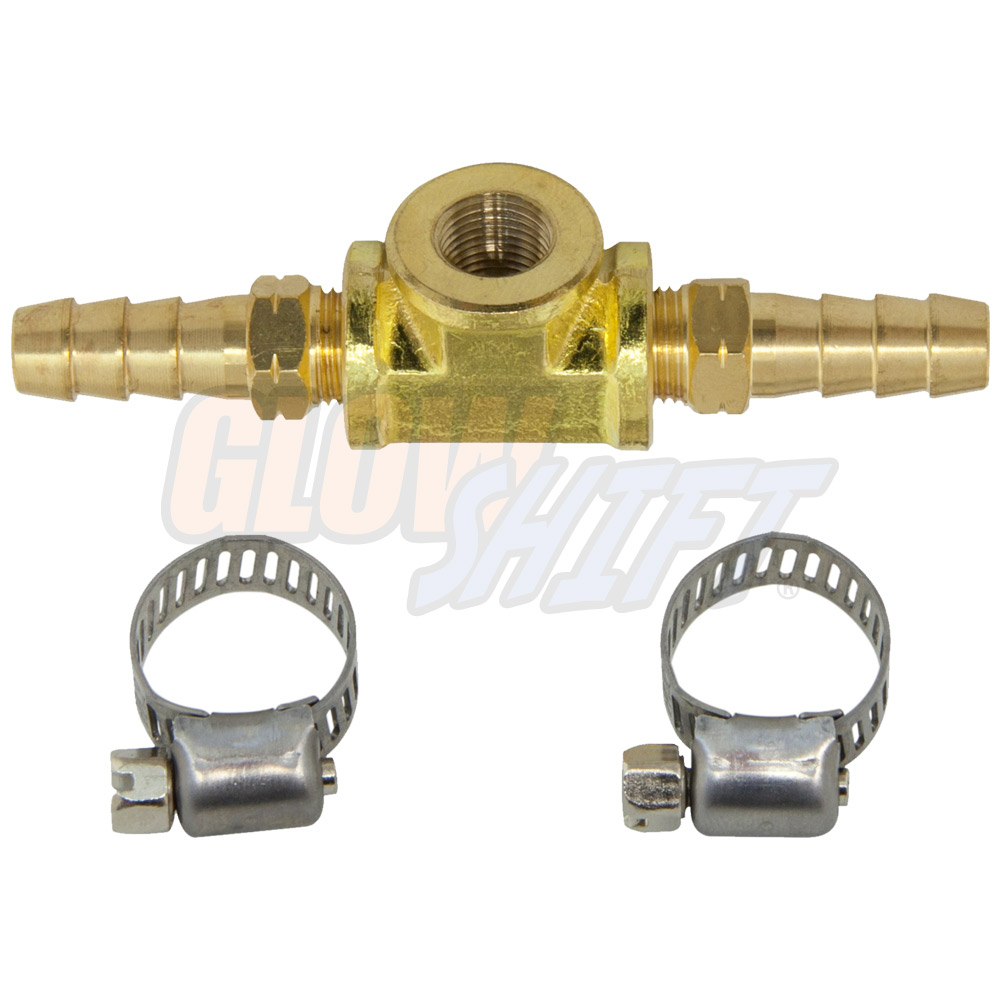 "GlowShift 5//16/"" Transmission Cooler Feed Line T-Fitting Adapter for Temp Sensor"