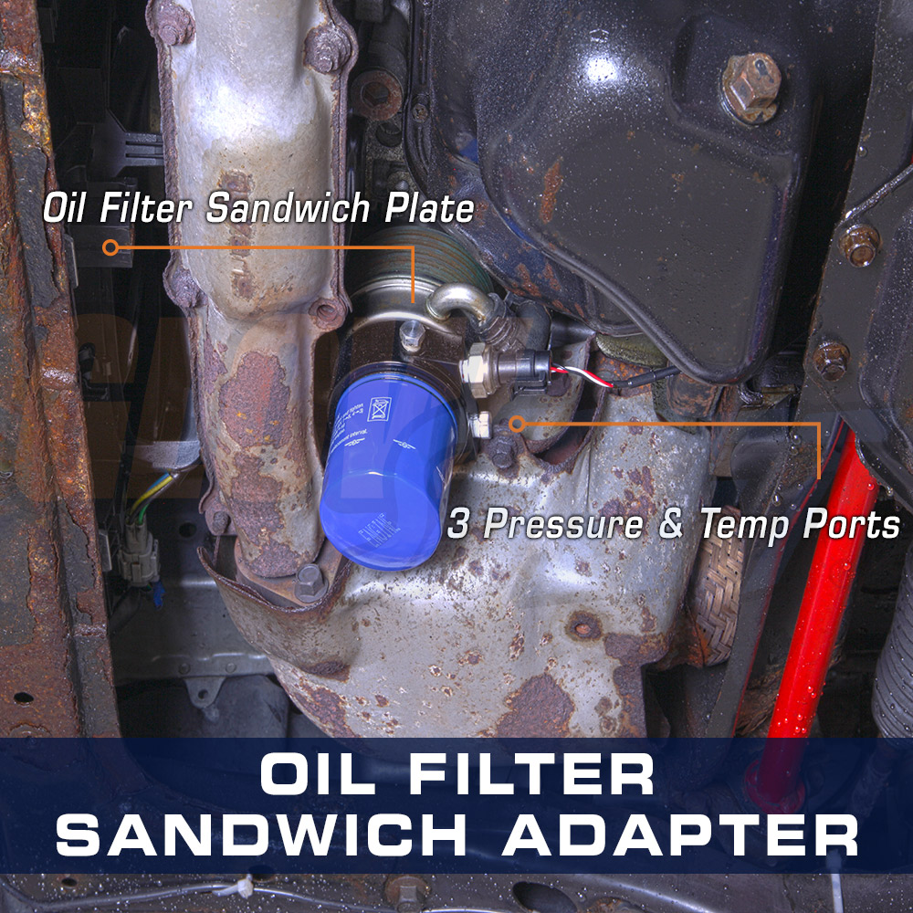 GLOWSHIFT ALUMINUM OIL FILTER SANDWICH SENSOR ADAPTER