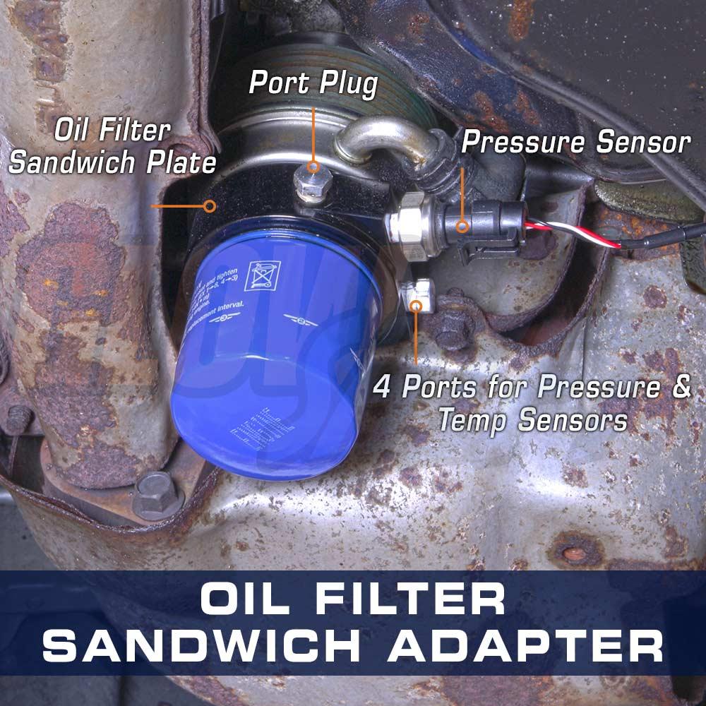 GLOWSHIFT OIL FILTER SANDWICH SENSOR ADAPTER FOR HONDA ACCORD 90-93 94-97