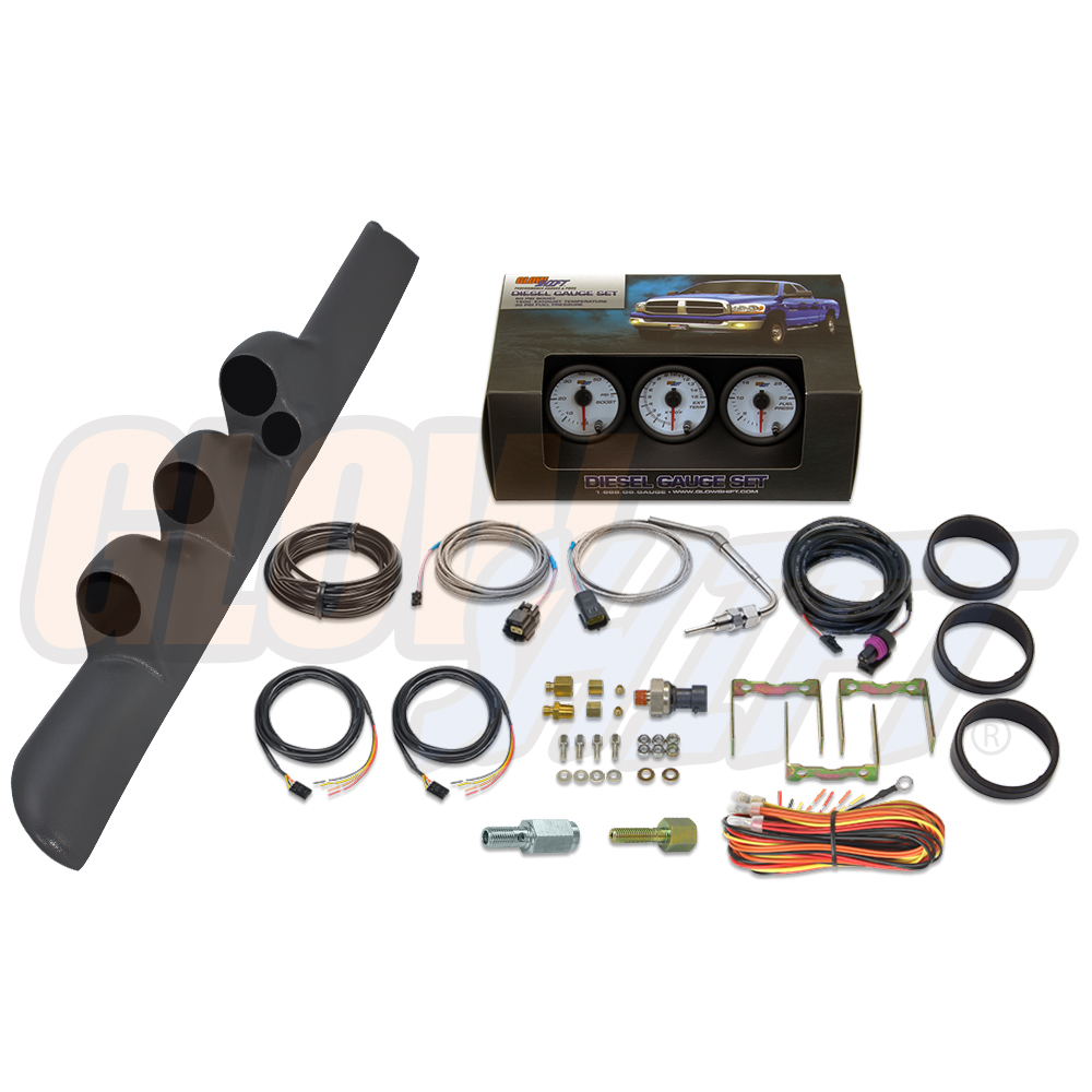 Glowshift W7 Boost Egt Fuel Psi Gauges   Gray Pod For 98
