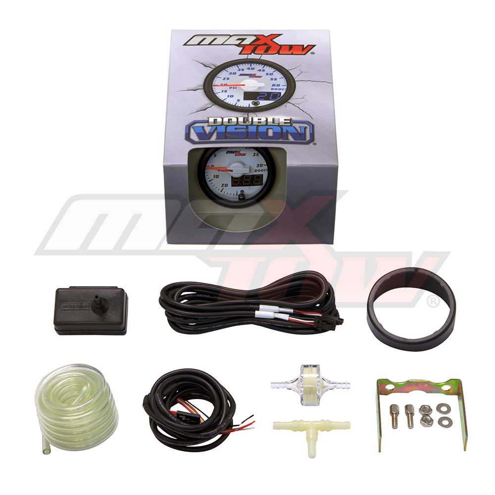 Maxtow Double Vision 30 Psi Fuel Pressure Gauge Kit Includes Electronic Sensor White