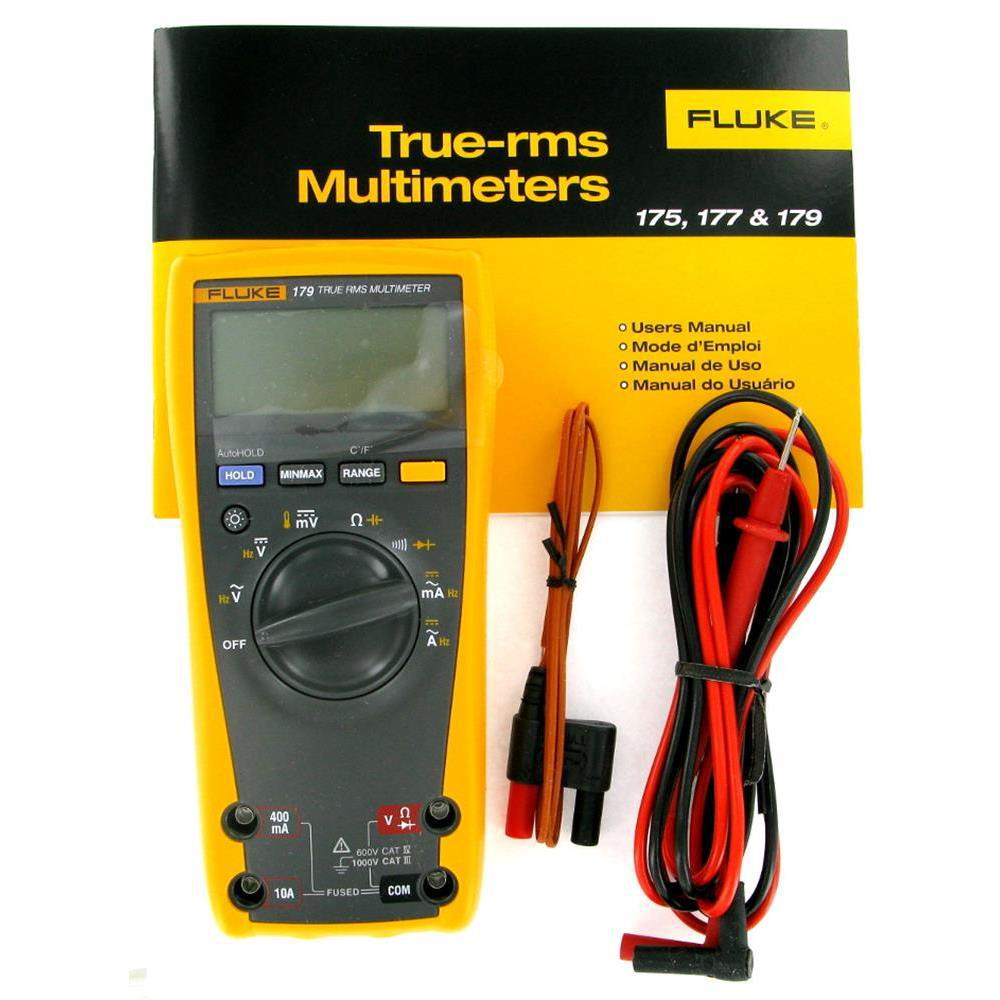 Details about Fluke 179 True-RMS Digital Multimeter with 80BK Temperature  Probe