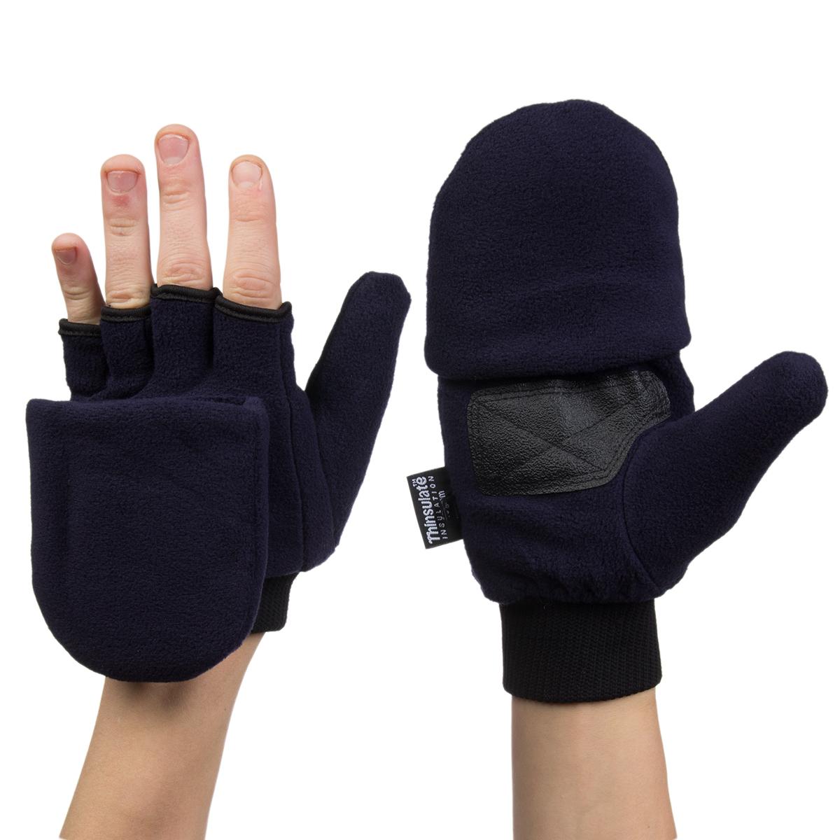 3M Thinsulate Fleece Pop Top Convertible Fingerless Gloves Mittens ...