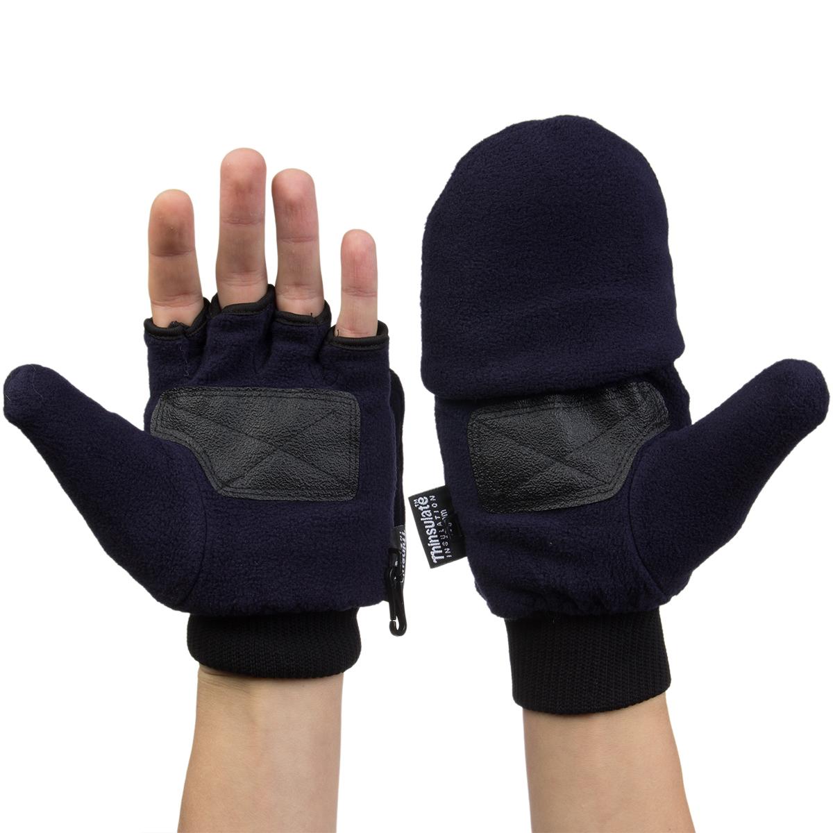 3M Thinsulate Fleece Pop Top Convertible Fingerless Gloves ...