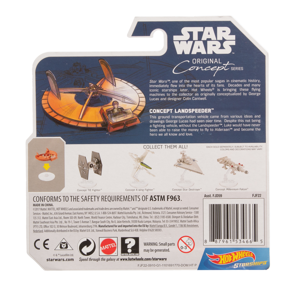 Hot-Wheels-Disney-Star-Wars-Original-Concept-Starships-Diecast-Model-Toys-Stands thumbnail 12