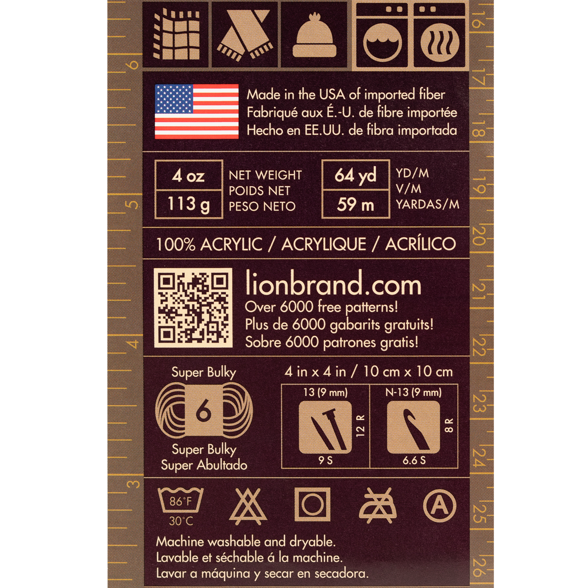 3pk-Lion-Brand-Hometown-USA-100-Acrylic-Yarn-Super-Bulky-6-Knit-Crochet-Skeins thumbnail 12
