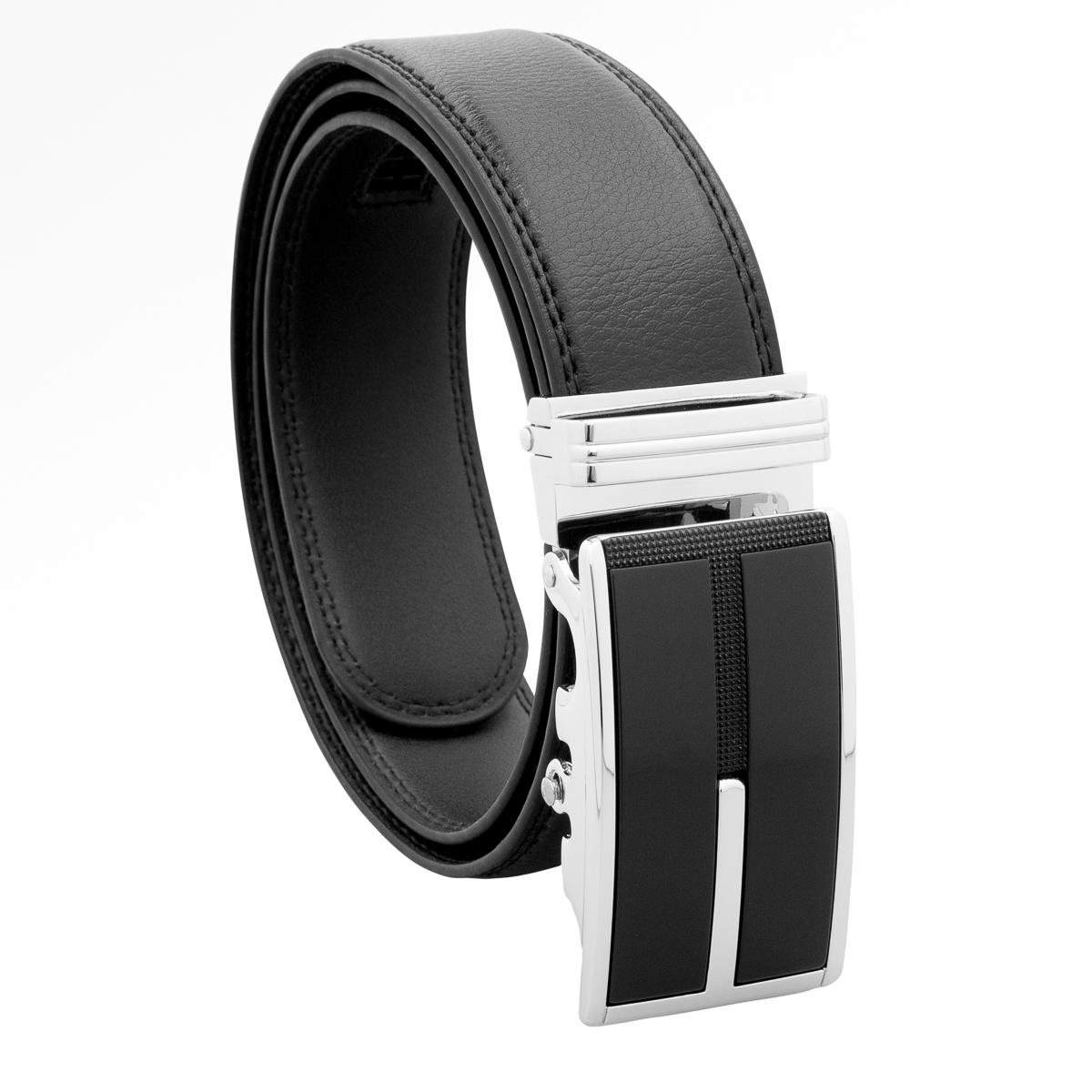 Mens Black Designer Leather Dress Belt Sliding Ratchet Automatic Buckle Holeless