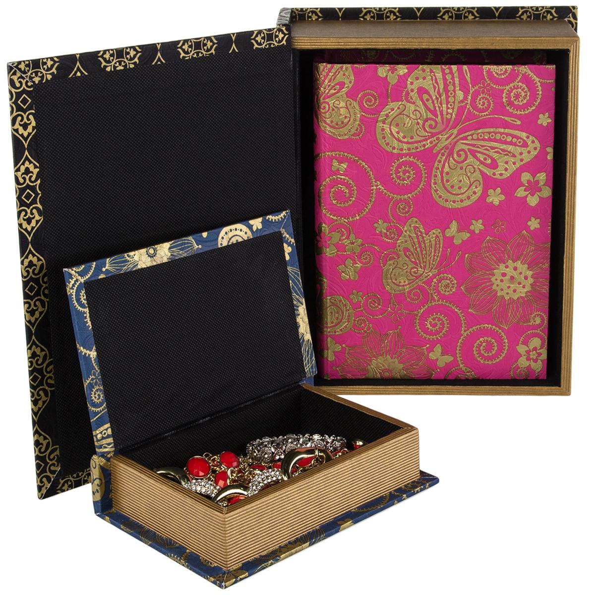Large New Wooden Storage Box Diy Crates Toy Boxes Set: 3pc Decorative Faux Book Nesting Storage Boxes Set Secret